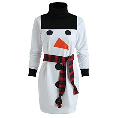 a1a5003c448 Women Christmas Snowman Belted Sweatshirt Dress Ladies Turtleneck Casual  Dress