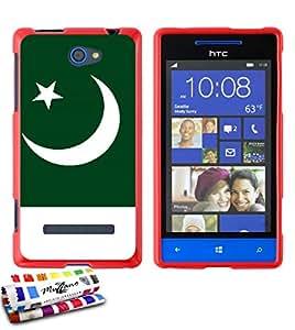 Carcasa Flexible Ultra-Slim HTC 8S de exclusivo motivo [Bandera Pakistán] [Roja] de MUZZANO + ESTILETE y PAÑO MUZZANO REGALADOS - La Protección Antigolpes ULTIMA, ELEGANTE Y DURADERA para su HTC 8S