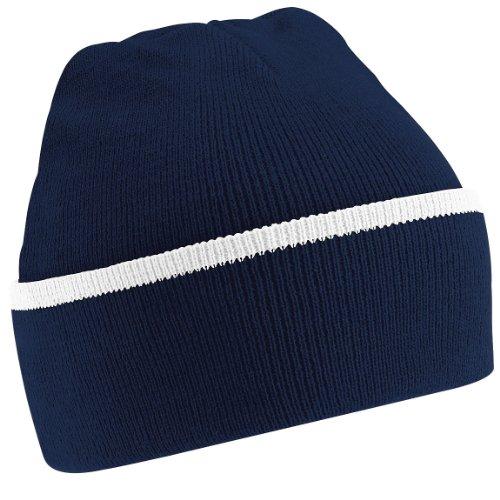 Beechfield - Gorro de punto para invierno estilo Beanie unisex Azul marino/blanco