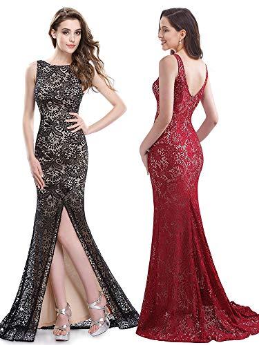 Ever-Pretty Womens Elegant Round Neckline Long Lace Burgundy Tie Affair Dress 14 US Burgundy