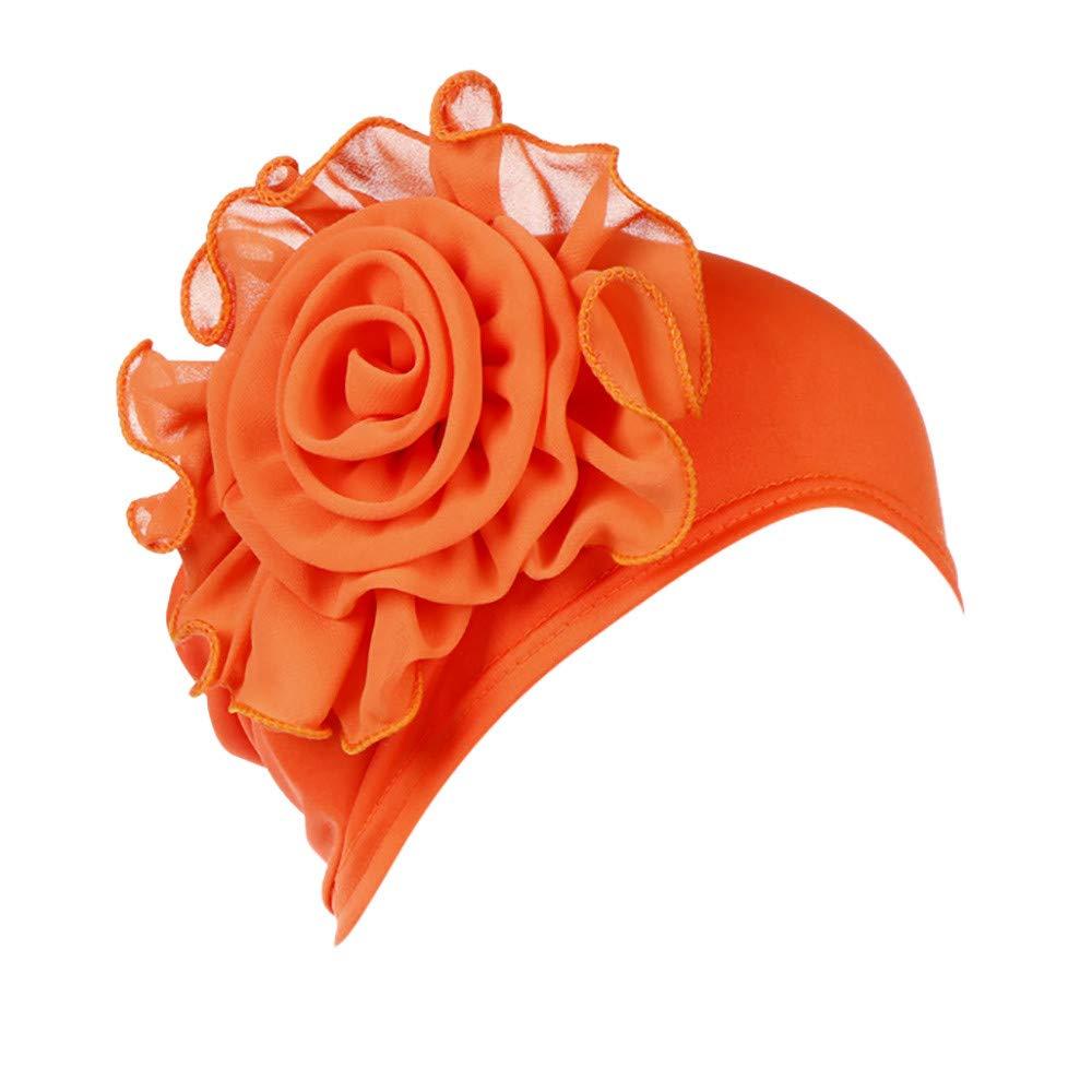 callm Women India Hat Fashion Muslim Ruffle Cancer Chemo Beanie Turban Wrap Cap Orange