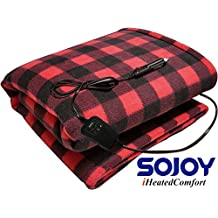 "Sojoy 12V Heated Travel Electric Blanket for Car, Truck,Boats Or RV with High/Low Temp Control Checkered Black and Burgundy(60""x39"") (Black and Burgundy)"