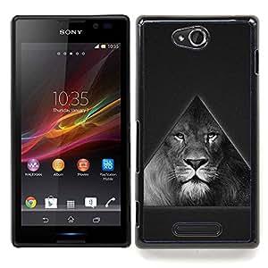 Triangle Majestic Lion B & W Caja protectora de pl??stico duro Dise?¡Àado King Case For Sony Xperia C S39h C2305
