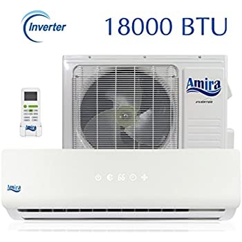 Amira 18000 BTU Mini Split Air Conditioner - 1 5 Ton Ductless System with  Inverter and Heat Pump - Complete Set with 15 Feet kit - 208-230 VAC