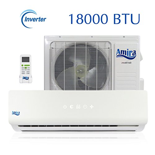 1.5 Pump Ton Heat (18000 BTU Mini Split Air Conditioner - 1.5 Ton Ductless System with Inverter and Heat Pump - Complete Set with 15 Feet kit - 208-230 VAC - By Amira)
