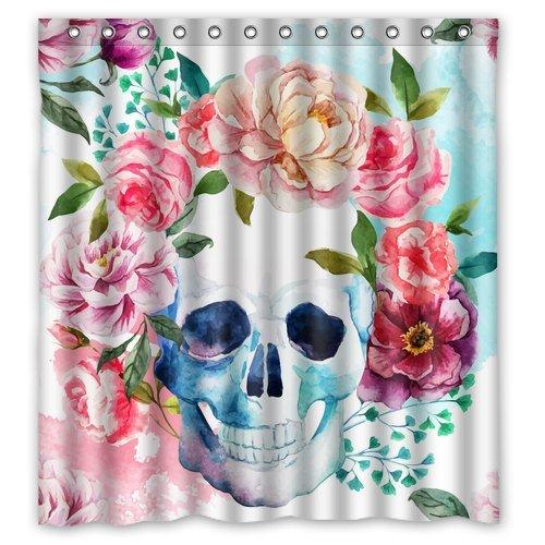 Amazon watercolor flower skull shower curtain skull anatomy watercolor flower skull shower curtain skull anatomy skull shower curtain anatomy floral mightylinksfo