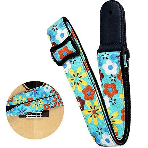 (Easeicon Adjustable Denim Ukulele Strap Hootenanny Style Country Lane Wild Flower Design UKE Belt for Hawaiian Ukelele (Baritone Tenor Concert Soprano) (Blue))
