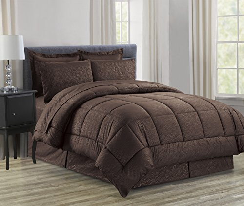 Luxury Bed-in-a-Bag Comforter Set on Amazon! Elegant Comfort Wrinkle Resistant - Silky Soft Beautiful Design Complete Bed-in-a-Bag 8-Piece Comforter Set -HypoAllergenic- Full/Queen, Chocolate (Piece Sheet 8 Bath)