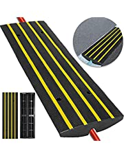 Happybuy Extreme Rubber Cable Protector Ramp 2 Channel Heavy Duty 66,000LB Load Capacity Cable Wire Cord Cover Ramp Speed Bump Driveway Hose Cable Protective Cover Ramp