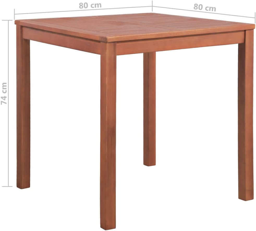 vidaXL Solid Acacia Wood Garden Table Weather Resistant Outdoor Dining Dinner Room Kitchen Furniture 31.5x31.5x29.1