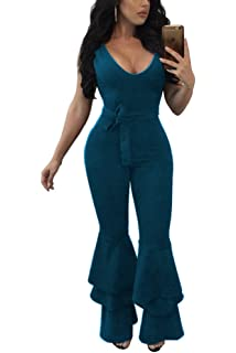 53484e78c3fa ZestwayWomen s Sexy Flare Bell Bottom Pants Belted Bodycon One Piece  Jumpsuit Rompers with Belt