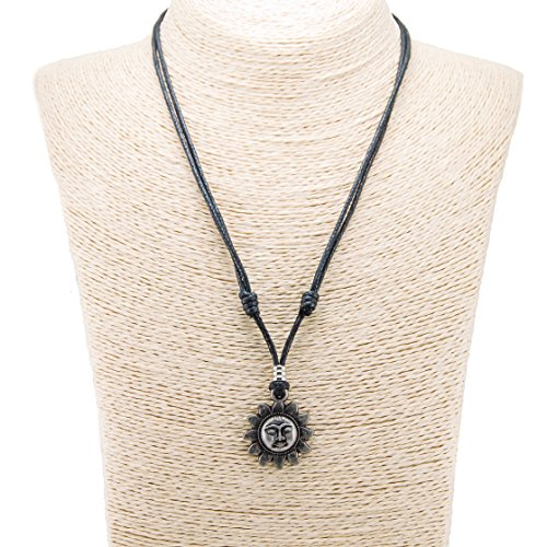 Metal Sun Pendant on Adjustable Cord Necklace (Old Silver)