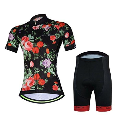 2017 Womens Short Sleeve Aogda Bicycle Cycling Jersey 3d Silicon Padded Bike Girls Skinsuits Shirt Bib Shorts Clothing Wear D914 (Bc shorts set rose, S)