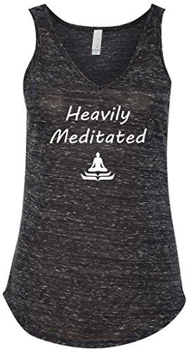 Yoga Clothing For You Heavily Meditated Flowy V-Neck Tank Top, Medium Black Marble