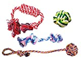 MIWIND– Puppy Dog Pet Cotton Rope Chew Teeth Cleanning Toys For Small to Medium Dogs (Set of 4)
