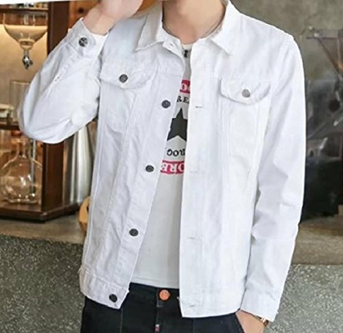 Solid Jean Collar White Turn Men Basic Down Button Coat Style Denim Howme Jacket 8qIHUH