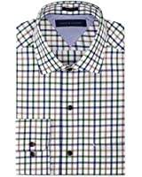 Tommy Hilfiger Men's Regular Fit Dress Shirt, White Multi, 18 34/35