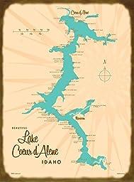 Lake Coeur d\'Alene, ID Map Wood Sign