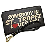 Wallet Clutch Somebody in St. Tropez Loves me, French Riviera with Removable Wristlet Strap Neonblond