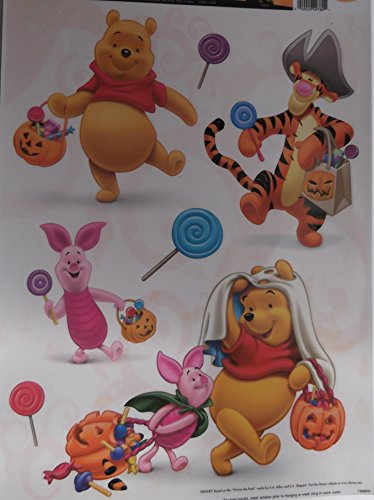 Halloween Window Cling Decoration - Pumpkins, Spiders, Jack-o-lanterns, Bats, Haunted House, Ghosts, Mickey, Scooby Doo, Disney Princess, Snoopy, Winnie the Pooh, Sponge Bob , 4-pack Assortment