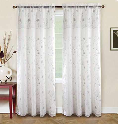 RT Designers Collection Bentley Embroidered 54 x 84 in. Double Rod Pocket Curtain Panel w/ Attached 18 in. Valance, (Taffeta Embroidered Rod Pocket Curtain)