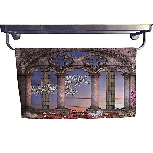(HoBeauty home Sports Ttowel, Ancient Colonnade in Secret Garden with Flowers at Sunset Enchanted Forest Blue,Ultra Soft, Cozy and Absorbent W 27.5