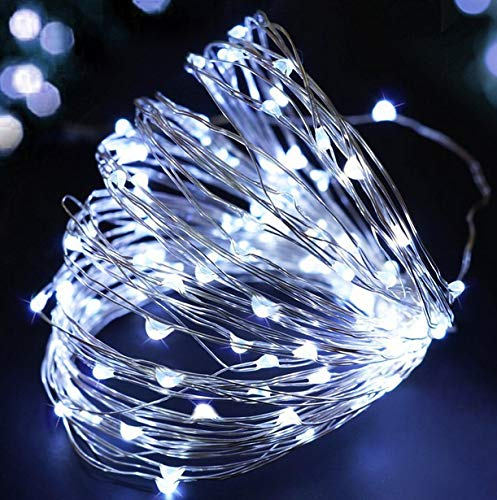 (Waterproof Led String Lights, Decoration led Christmas String Light 13FT 40LEDs 3AA Battery Operated led String Lights Timer Waterproof Indoor and Outdoor Party Wedding Holiday Decoration (Cool White))