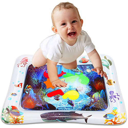 Mindscrio Inflatable Baby Water Mat,The Perfect Fun time Play Activity Center for Children & Infants, Best Baby Toys for Your Baby's Stimulation and Growth,Marine Organism (White)