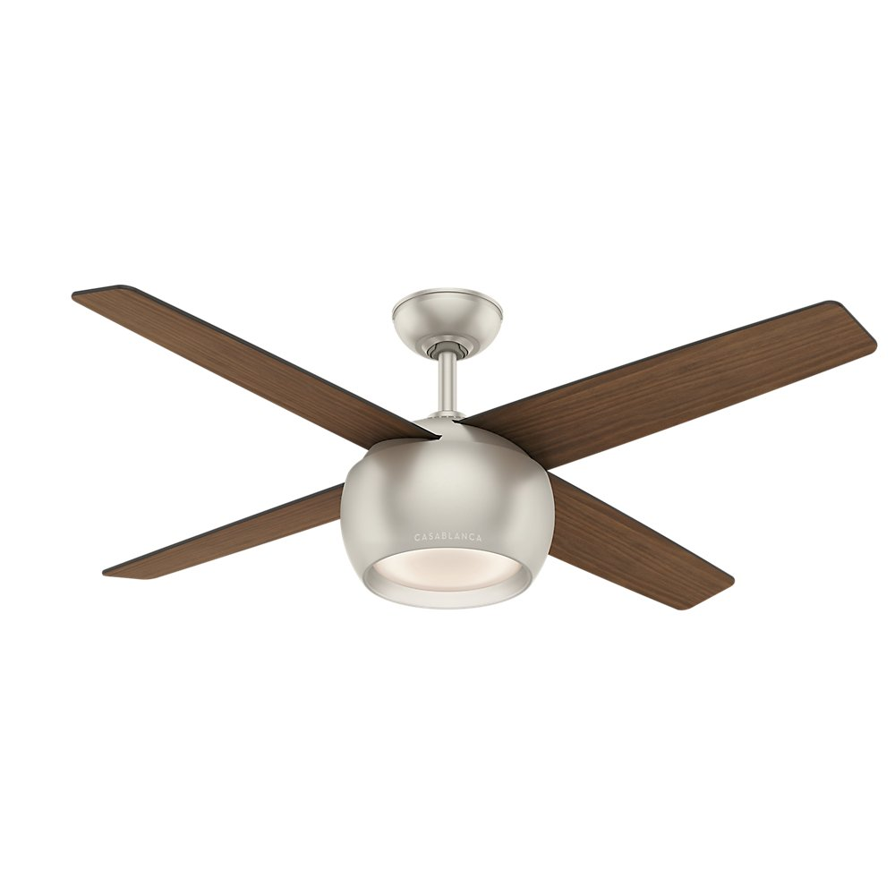 "Amazon.com: Casablanca 59333 Valby Ceiling Fan Casablanca Matte Light with  Wall Control, 54"", Nickel: Home Improvement"