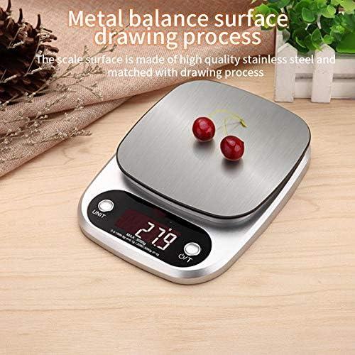 PRWJH Bilance da cucina elettroniche, bilance da cucina da 10 kg / 1 g, bilance pesapersone digitali in acciaio inossidabile