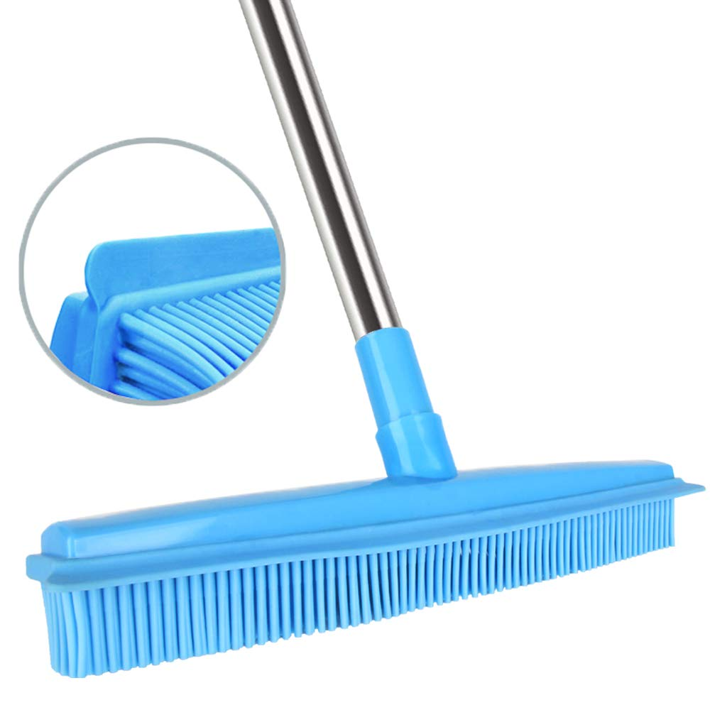 Push Broom Rubber Bristles Sweeper Squeegee Edge 51 inches Adjustable Long Handle Non Scratch Bristle, Indoor Outdoor Broom for Pet Cat Dog Hair Carpet Hardwood Tile Windows Clean Cleaning (Blue) by LandHope