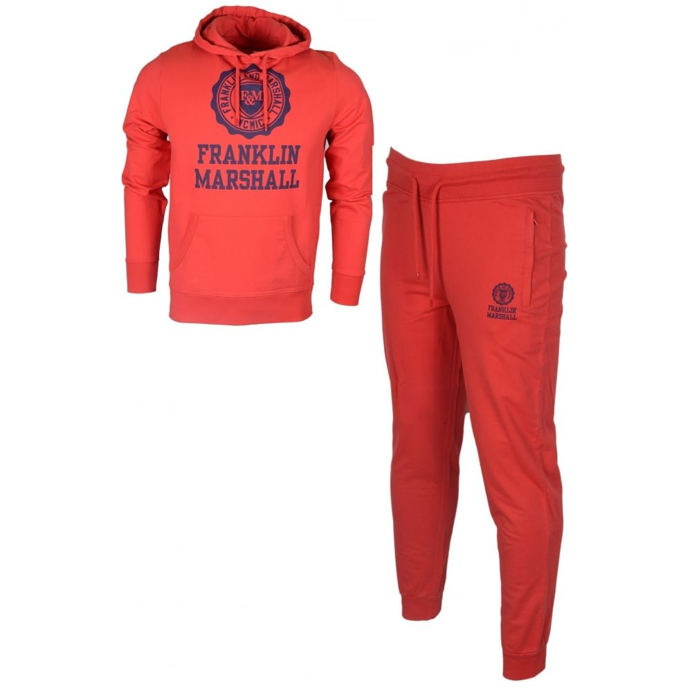 Franklin /& Marshall MF252 Hooded Crest Logo Regular Fit Fire Red Tracksuit