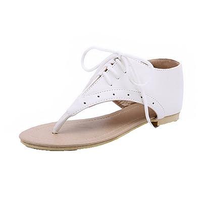 AalarDom Mujer Puntera Dividida Mini Tacón Pu Sólido Sandalias de vestir