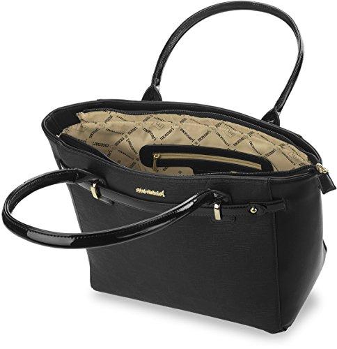 klassische Damentasche Shopperbag Markentasche Monnari dekorative Vorderseite lackierte Details schwarz