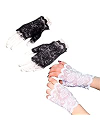 TraderPlus 2 Pairs Women's Wrist Length Floral Lace Half Finger Fingerless Gloves for Wedding Derby Halloween Fancy Dresses Hen Night (1 Pair Black + 1 Pair White)