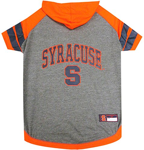 NCAA Syracuse Orange Hoodie for Dogs & Cats, Medium. | Collegiate Licensed Dog Hoody Tee Shirt | Sports Hoody T-Shirt for Pets | College Sporty Dog Hoodie Shirt.