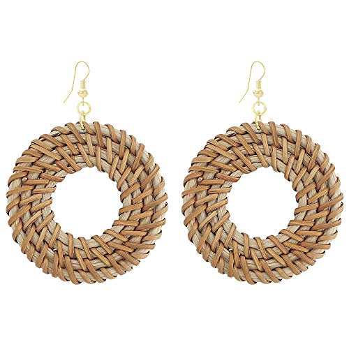 Fashion Handmade Straw Earrings Brown Woven Rattan Bamboo Drop Statement Circle Hoops Earrings for Party