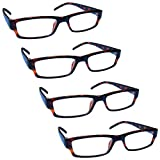 The Reading Glasses Company Brown Tortoiseshell Lightweight Comfortable Readers Value 4 Pack Mens Womens RRRR32-2 +1.75