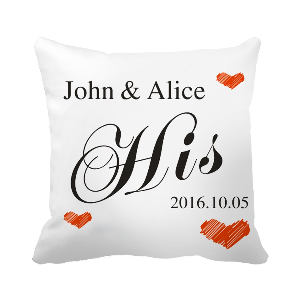 "CiCiDi Custom Name His Hearts Wedding Anniversary Gift Canvas Cotton Ornamental Throw Pillow Covers 20""x 20"""