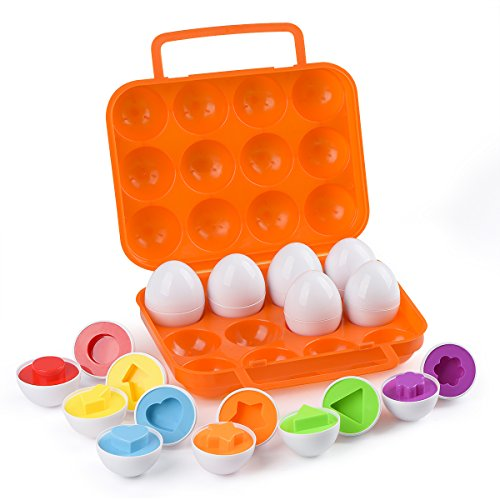 Hhyn Matching Eggs, Shapes and Colors Educational Toys Set Puzzle Sorting Eggs Game Improve Motor Skills, Age 3+, Set of 12 Eggs]()