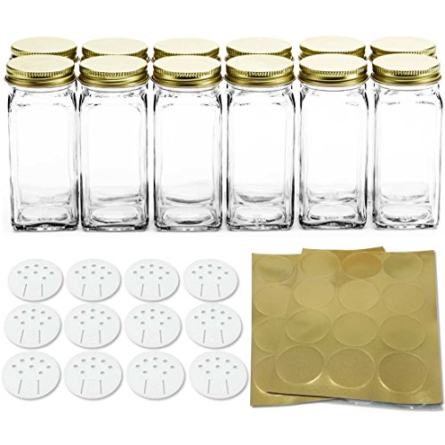 12 Square Glass Spice Bottles 4 oz Spice Jars with Gold Metal Lids, Shaker Tops, and Labels by SpiceLuxe (Lid Glass Shaker With)