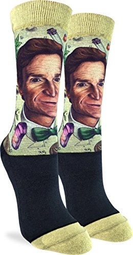 Good Luck Sock Women's Bill Nye the Science Guy Socks - Adult Shoe Size 5-9 (Bill Nye Everything All At Once Tour)