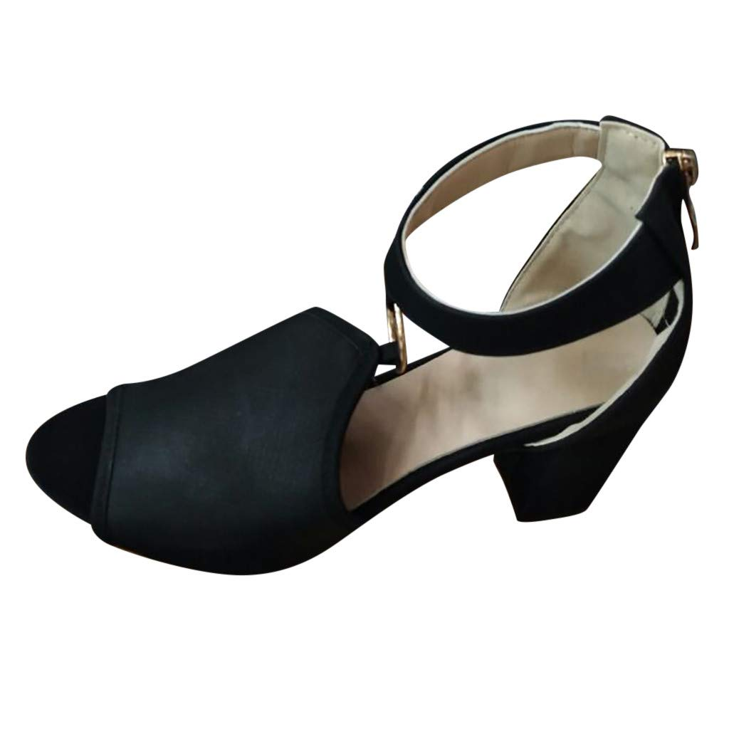 Fastbot Women's Summer Sandals Hollow Strap Buckle Thick Heel Breathable Black