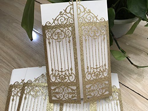 Gatefold Invites - 25pcs Glittper Paper Gold DIY Laser Cut Gatefold Wedding Invitations,Gatefold Invitation, Modern Invitation, Elegant Invitation, Lace Invite