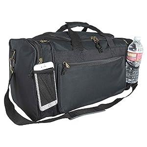 "DALIX 19"" Gym Duffel Bag with Water Bottle / Valuables Soft Side Pockets (Black)"