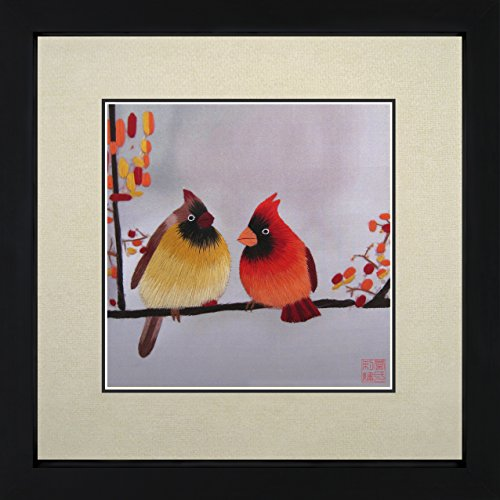 (King Silk Art 100% Handmade Embroidery Two Cardinals Chinese Print Framed Wildlife Bird Painting Gift Oriental Asian Wall Art Decoration Artwork Hanging Picture Gallery 31071WFB2)