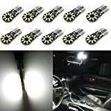 Alla Lighting CAN-BUS Error Free Super Bright 3014 18-SMD for Car License Plate Tag Interior Map Dome Trunk Door Courtesy Light Lamp T10 Miniature Wedge 194 168 2825 W5W 175 White LED Bulbs Pack of 10