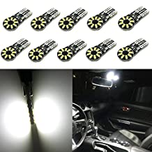 Alla Lighting 4x 194 168 2825 175 W5W T10 Wedge LED Lights Bulb 5050 5-SMD LED Bulbs for Interior Map Dome Side Marker License Plate Lights bulbs.