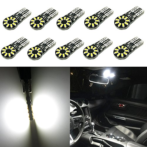 - Alla Lighting 10pcs CAN-BUS Error Free T10 Wedge Super Bright High Power 3014 18-SMD 194 168 2825 W5W White LED Bulb Light Lamps