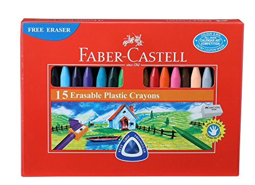 Plastic Crayons - Faber Castell Erasable Plastic Crayons - 15 Shades